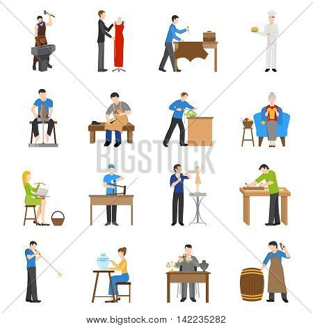 Flat design craftsmen icons with people having various professions isolated on white background vector illustration
