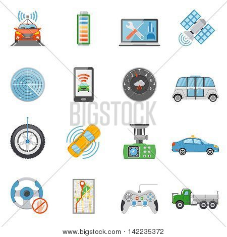 Flat driverless car autonomous vehicle icons set isolated on white background vector illustration