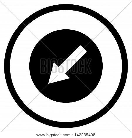 Down-Left Rounded Arrow vector icon. Style is flat rounded iconic symbol, down-left rounded arrow icon is drawn with black color on a white background.