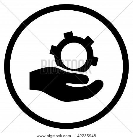Engineering Service vector icon. Style is flat rounded iconic symbol, engineering service icon is drawn with black color on a white background.