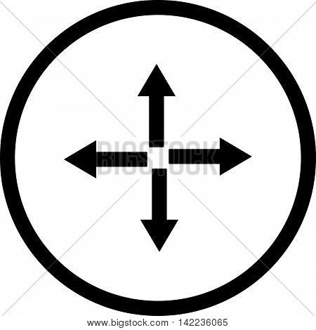 Expand Arrows vector icon. Style is flat rounded iconic symbol, expand arrows icon is drawn with black color on a white background.