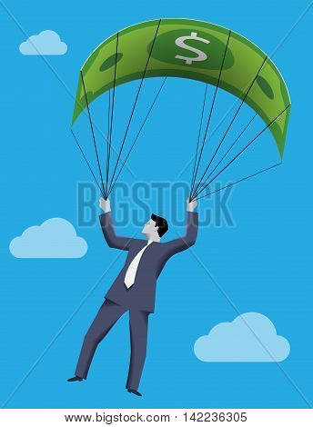 Chief executive falling down with dollar bill parachute symbolizing financial success and good profit even in crisis times.