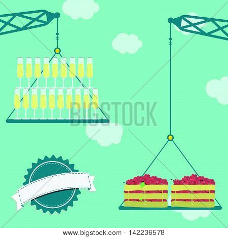 Crane With Grapes And Glass Of Champagne