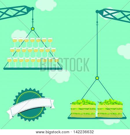 Crane With Grapes And Glass Of White Wine