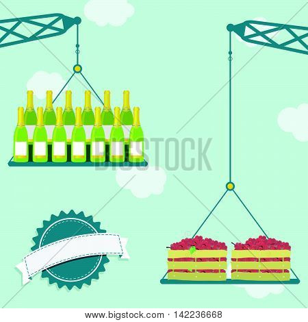 Crane With Grapes And Champagne