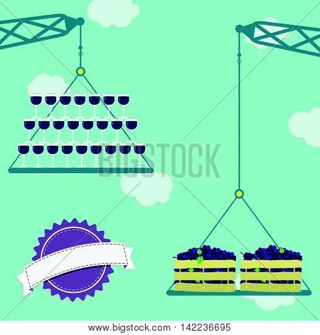 Crane With Grapes And Glass Of Wine