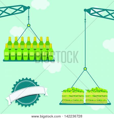 Crane With Green Grapes And Wine
