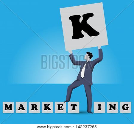 Market king business concept. Businessman holding big cube with letter K on it stands among smaller cubes with letters of work MARKETING with E and T letters under his foot. He is MARKET KING