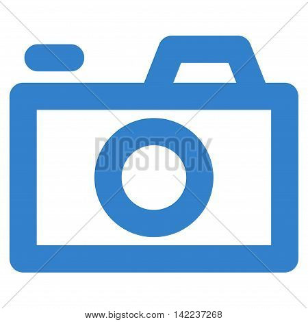 Camera vector icon. Style is stroke flat icon symbol, cobalt color, white background.