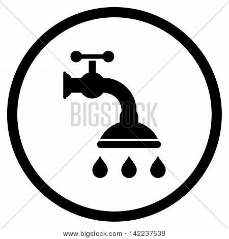 Shower Tap vector icon. Style is flat rounded iconic symbol, shower tap icon is drawn with black color on a white background.