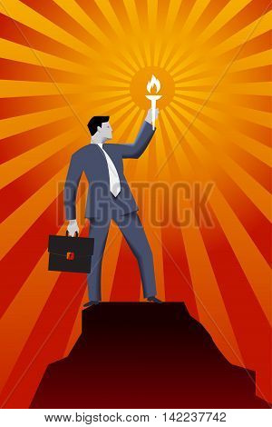 Leading in the darkness business concept. Successful businessman in business suit with case and burning torch on the top of the mountain looking around and searching for new opportunities and targets