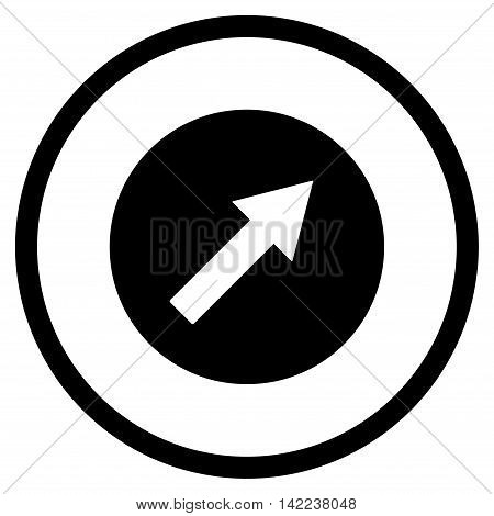 Up-Right Rounded Arrow vector icon. Style is flat rounded iconic symbol, up-right rounded arrow icon is drawn with black color on a white background.