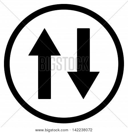 Vertical Flip Arrows vector icon. Style is flat rounded iconic symbol, vertical flip arrows icon is drawn with black color on a white background.