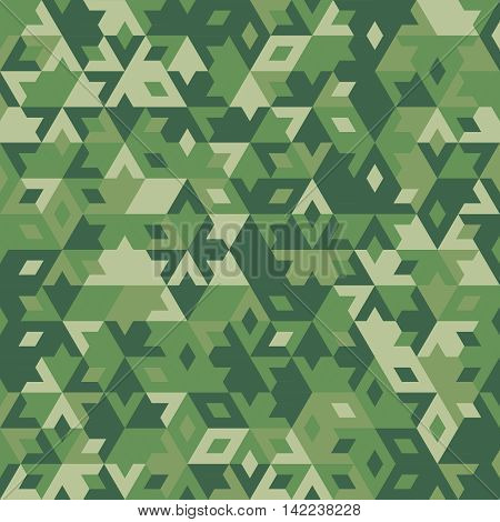 abstract geometric green forest seamless background with colored triangles for textile, backdrop or banner