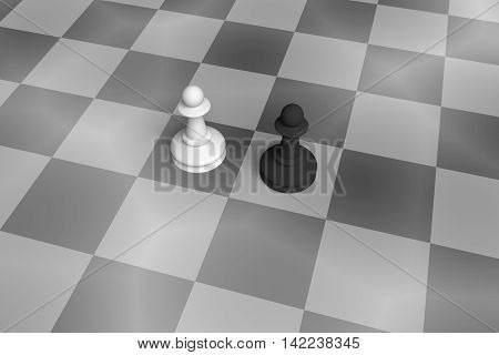 White And Black Pawn On A Noisy Chess Board black and white 3d illustration