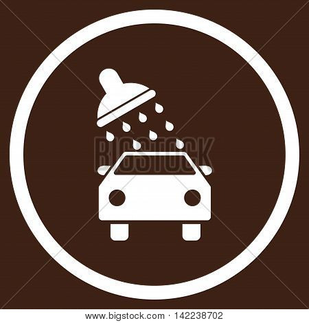 Car Wash vector icon. Style is flat rounded iconic symbol, car wash icon is drawn with white color on a brown background.