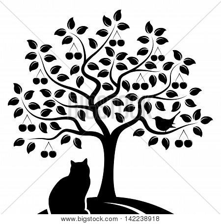 vector cherry tree with bird and cat isolated on white background