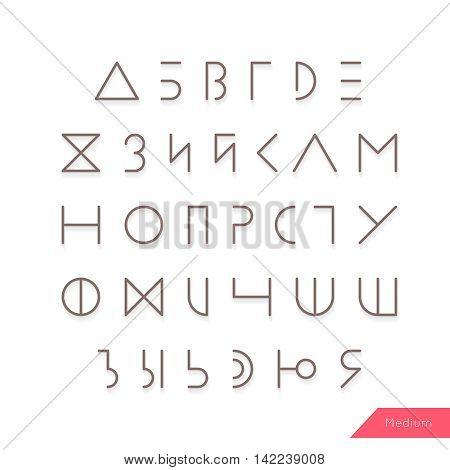 Cyrillic alphabet typeface vector. Hipster Russian symbols set. Elegant typeset eps. Medium Line geometric letters.