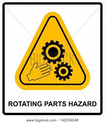 Rotating Parts Hazard for hands sign, vector illustration. Warning banner with symbol in yellow triangle for conveyor and factory isolated on white.
