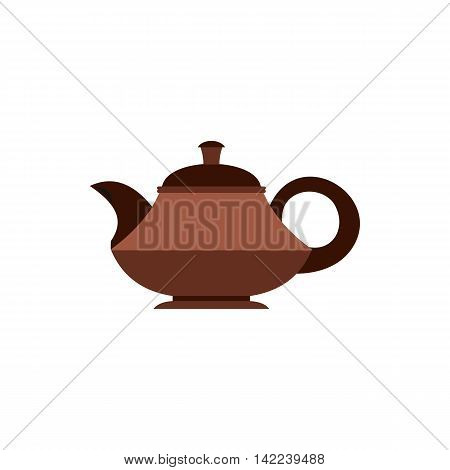 Tea pot icon in flat style isolated on white background