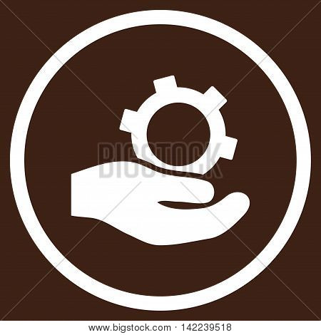 Engineering Service vector icon. Style is flat rounded iconic symbol, engineering service icon is drawn with white color on a brown background.