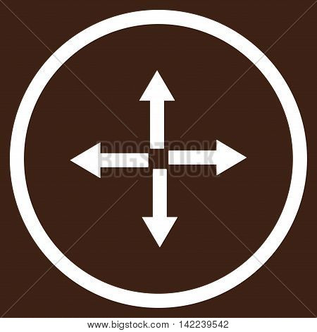 Expand Arrows vector icon. Style is flat rounded iconic symbol, expand arrows icon is drawn with white color on a brown background.