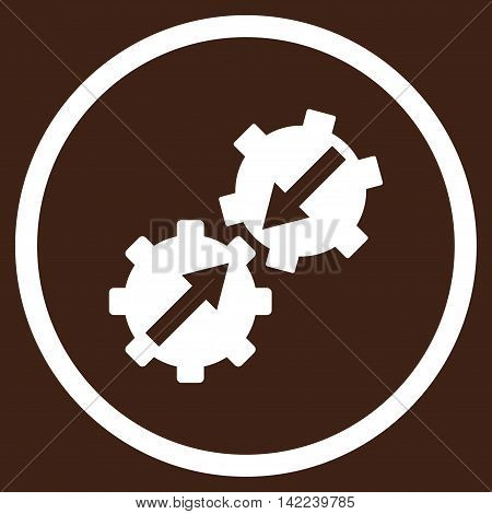 Gear Integration vector icon. Style is flat rounded iconic symbol, gear integration icon is drawn with white color on a brown background.