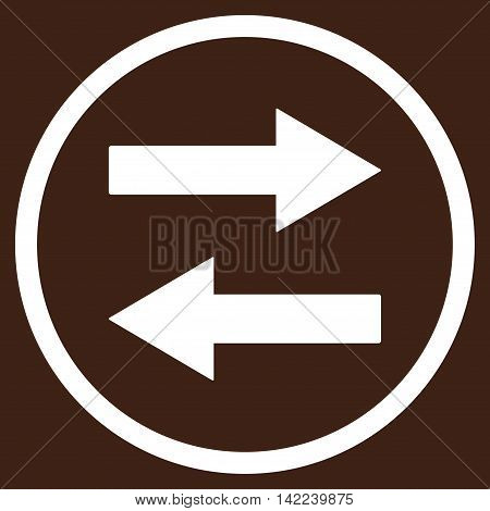 Horizontal Flip Arrows vector icon. Style is flat rounded iconic symbol, horizontal flip arrows icon is drawn with white color on a brown background.
