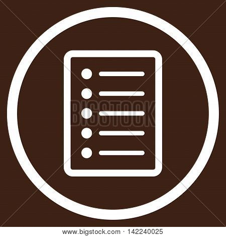 List Page vector icon. Style is flat rounded iconic symbol, list page icon is drawn with white color on a brown background.