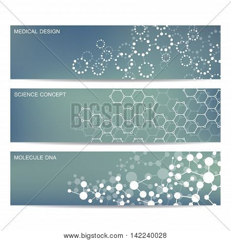 Set of modern scientific banners. Molecule structure DNA and neurons. Abstract background. Medicine, science, technology. Vector illustration for your design