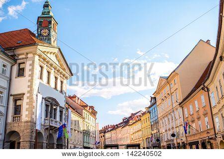 Central square with city hall in the old city centre in Ljubljana in Slovenia.
