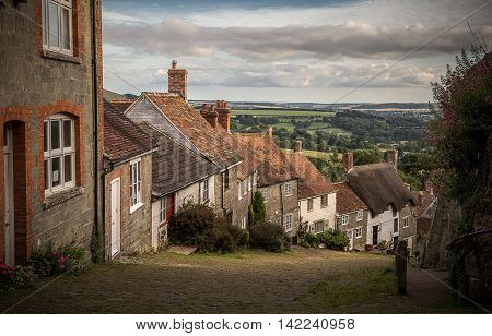 Famous Gold Hill in Wiltshire, made famous by Hovis Bread Advert. Summertime.