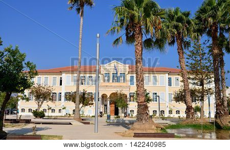RETHYMNO GREECE - 08.03.2016: Prefecture Building on Iroon Polytechniou Square