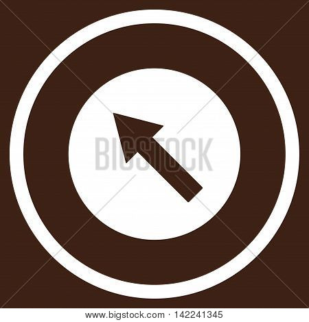 Up-Left Rounded Arrow vector icon. Style is flat rounded iconic symbol, up-left rounded arrow icon is drawn with white color on a brown background.
