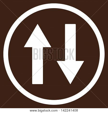 Vertical Flip Arrows vector icon. Style is flat rounded iconic symbol, vertical flip arrows icon is drawn with white color on a brown background.
