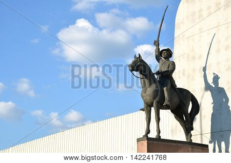 Statue of slovak national hero displayed like a fighter for his nation with sword in hand on the horse