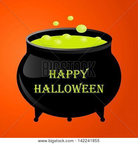 Witches pot for halloween with green potion. Vector illustration