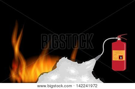 Fire Extinguisher which extinguishes fire on Black Background. Vector Illustration. EPS10