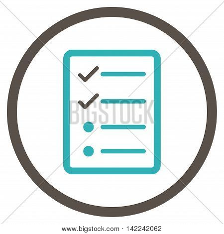 Checklist Page vector icon. Style is bicolor flat rounded iconic symbol, checklist page icon is drawn with grey and cyan colors on a white background.