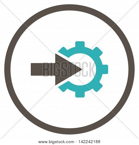 Cog Integration vector icon. Style is bicolor flat rounded iconic symbol, cog integration icon is drawn with grey and cyan colors on a white background.