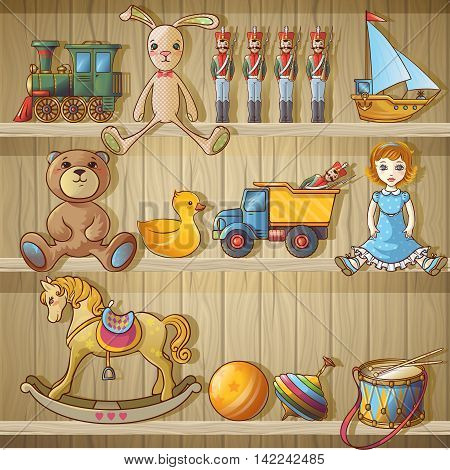Kids toys on shelves composition cartoon toys on a shelf of wooden closet vector illustration