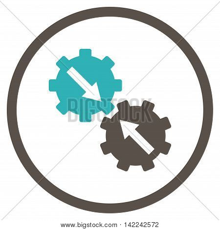 Gear Integration vector icon. Style is bicolor flat rounded iconic symbol, gear integration icon is drawn with grey and cyan colors on a white background.