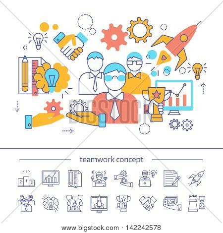 Teamwork linear concept with colored composition of business collaboration and monochrome icons of partnership isolated vector illustration