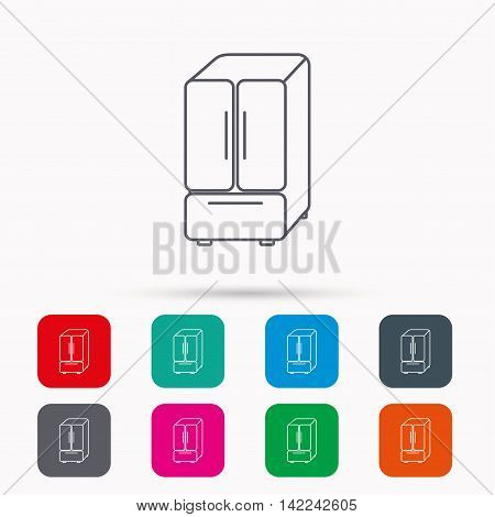 American fridge icon. Refrigerator sign. Linear icons in squares on white background. Flat web symbols. Vector
