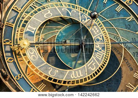 Astronomical Clock or Orloj lower dial on the Staromestske namesti Square Czech Republic.