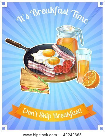 Colored breakfast poster with title it s breakfast time don t skip breakfast vector illustration