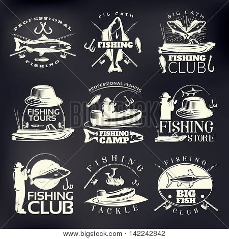 Fishing emblem set on dark with big catch fishing club professional fishing fishing camp and store descriptions vector illustration