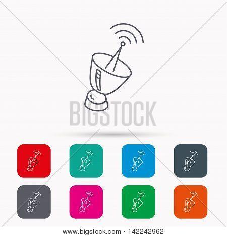 Antenna icon. Sputnik satellite sign. Radio signal symbol. Linear icons in squares on white background. Flat web symbols. Vector