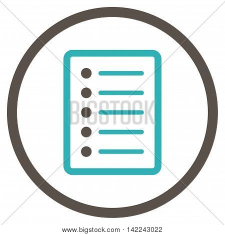 List Page vector icon. Style is bicolor flat rounded iconic symbol, list page icon is drawn with grey and cyan colors on a white background.