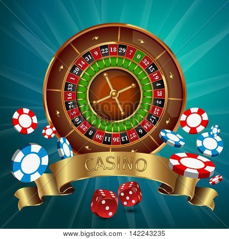 Realistic casino online games poster with golden ribbon and roulette on the top vector illustration